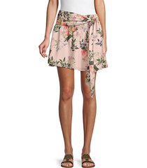 ruched floral skirt