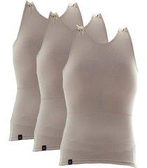 kit com 03 cintas modeladora e postural alta compressã£o bodyshaper - slim fitness bege - bege - masculino - dafiti