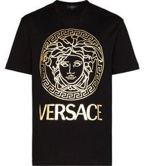 gold embossed medusa t-shirt black