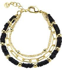 bracciale multicatena in ottone dorato con elementi conchiglia nero per donna