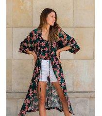 kimono ohana w kwiatowy wzór