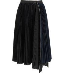 sacai pleated midi skirt with zip