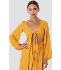 trendyol binding detailed crop blouse - yellow