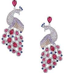 eye candy la women's luxe patricia silvertone & crystal peacock drop earrings