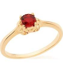 anel skinny ring solitário com cristal redondo rommanel