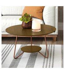 conjunto mesa centro e apoio liz com pés de ferro malbec - rpm móveis