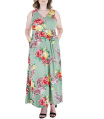 plus size floral sleeveless v neck pocket maxi dress