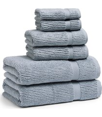 kassatex mateo 6-piece bath towel, hand towel & washcloth set, size one size - blue