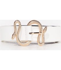 womens it's yours for the snake-ing buckle belt - white
