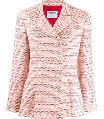 chanel pre-owned 1990's woven double-breasted slim jacket - red