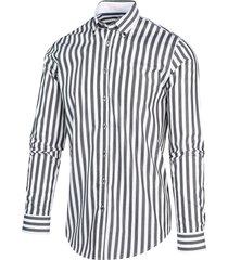 blue industry heren overhemd grijs verticale strepen perfect fit