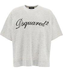 dsquared2 slogan slouch short sleeve sweatshirt