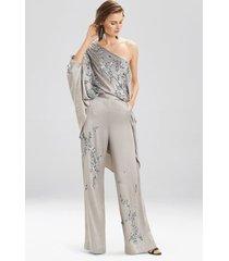 couture floral pants robe, women's, silver, 100% silk, size m, josie natori