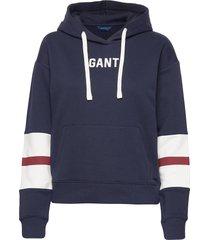 d1. graphic block stripe hoodie hoodie trui blauw gant