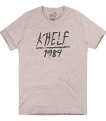 camiseta masculina botonê 1984 mescla bege