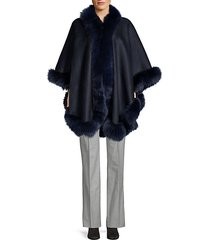 made for generation™ dyed fox fur trim cashmere cape