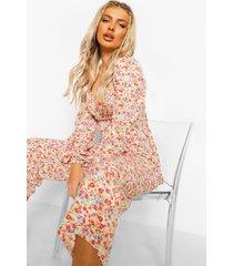geplooide bloemenprint culotte jumpsuit, cream