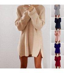 women warm loose above knee polyester plain knitted zipper sweater dresses beige
