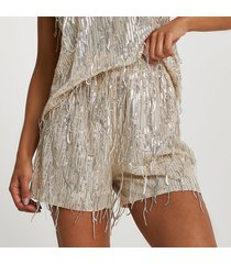river island womens silver sequin tassel shorts