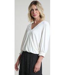 blusa feminina blusê transpassada manga 7/8 com lastex decote v off white