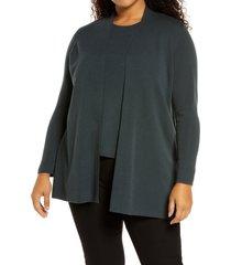 plus size women's eileen fisher merino wool straight cardigan, size 1x - blue