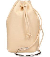 jil sander drawstring hand bag in rose-pink leather