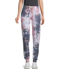 sweet romeo women's peach smoke tie dyed-print jogger pants - peach smoke - size l