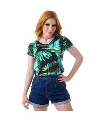 camiseta cropped feminina overfame folhas tropicais