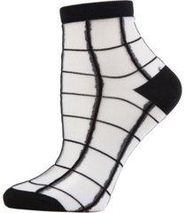 sheer plaid women's anklet socks