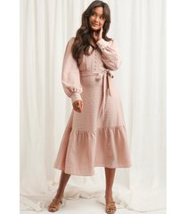 na-kd boho structured tie waist dress - pink