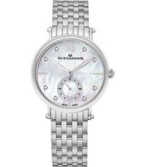 alexander watch ad201b-01, ladies quartz small-second watch with stainless steel case on stainless steel bracelet