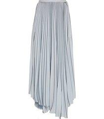asymmetrical pleated skirt blue