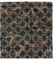 valentino garavani camouflage logo grid print scarf - green