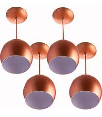 kit 4 lustres pendente bola pequena alumãnio 15cm cobre - cobre - dafiti