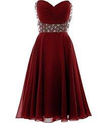 short beaded sweetheart prom dress evening chiffon gown plus size burgundy us 18