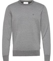 cotton silk c-neck sweater gebreide trui met ronde kraag grijs calvin klein