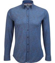 desoto heren overhemd effen donker jersey oxford button-down