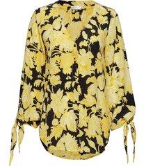 kimberly, 517 hortensia silk blouse lange mouwen geel stine goya