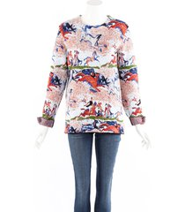 christian dior multicolor horse print cotton knit sweater multicolor sz: s