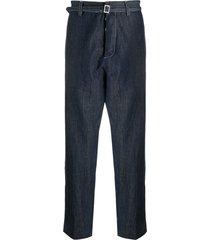 haikure belted straight-leg jeans - blue