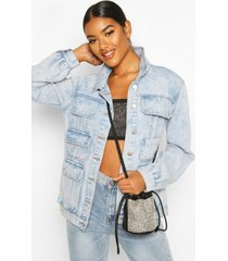 acid wash multi pocket jean jacket, light blue