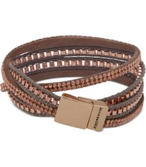 lonna & lilly gold-tone crystal leather wrap bracelet