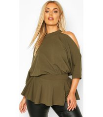 plus batwing sleeve peplum top, khaki