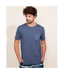 camiseta masculina básica com bolso manga curta gola careca azul escuro