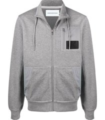 calvin klein jeans zipped contrast panel sweater - grey