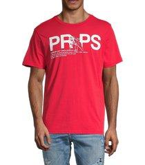 prps men's logo cotton t-shirt - red - size l