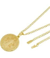 kit medalha são bento com corrente tudo jóias grumet fecho gaveta folheado a ouro 18k