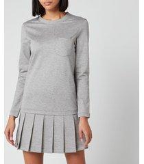 thom browne women's drop waist pleated bottom dress - light grey - it 40/uk 8