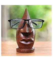 wood eyeglasses stand, 'prominent nose in light brown' (indonesia)