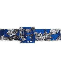 carolina herrera floral wide square belt - blue